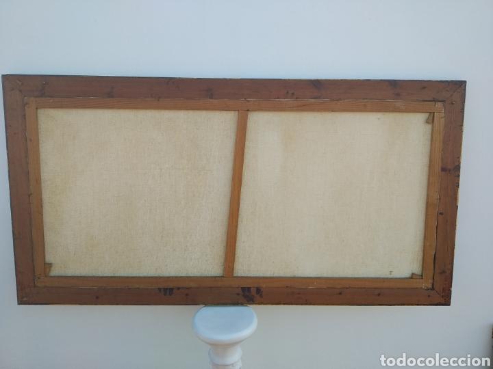 Arte: Antigua pintura oleo sobre lienzo ,batalla naval ,galeones escaramuza ,marco de madera epoca - Foto 10 - 288601263