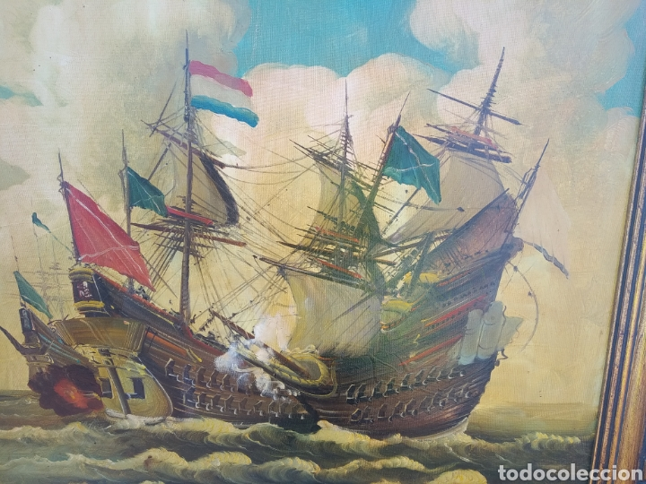 Arte: Antigua pintura oleo sobre lienzo ,batalla naval ,galeones escaramuza ,marco de madera epoca - Foto 11 - 288601263