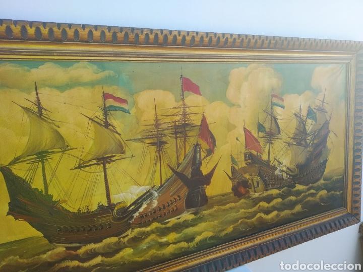 Arte: Antigua pintura oleo sobre lienzo ,batalla naval ,galeones escaramuza ,marco de madera epoca - Foto 12 - 288601263