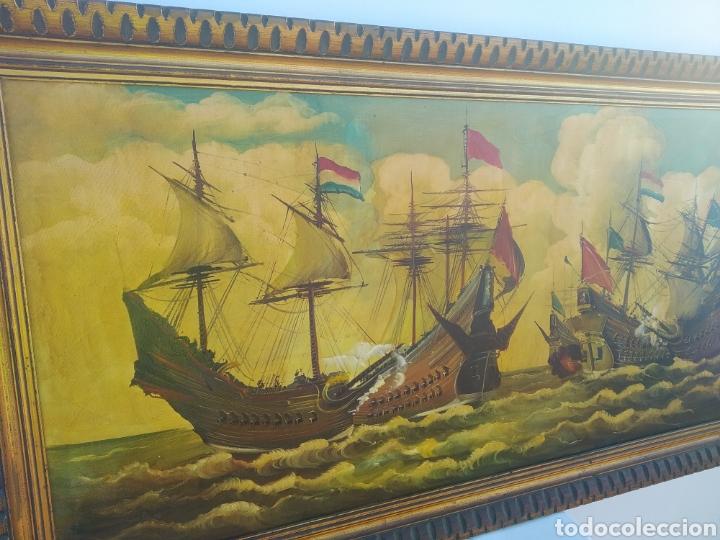 Arte: Antigua pintura oleo sobre lienzo ,batalla naval ,galeones escaramuza ,marco de madera epoca - Foto 13 - 288601263
