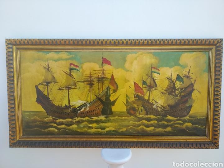 Arte: Antigua pintura oleo sobre lienzo ,batalla naval ,galeones escaramuza ,marco de madera epoca - Foto 14 - 288601263