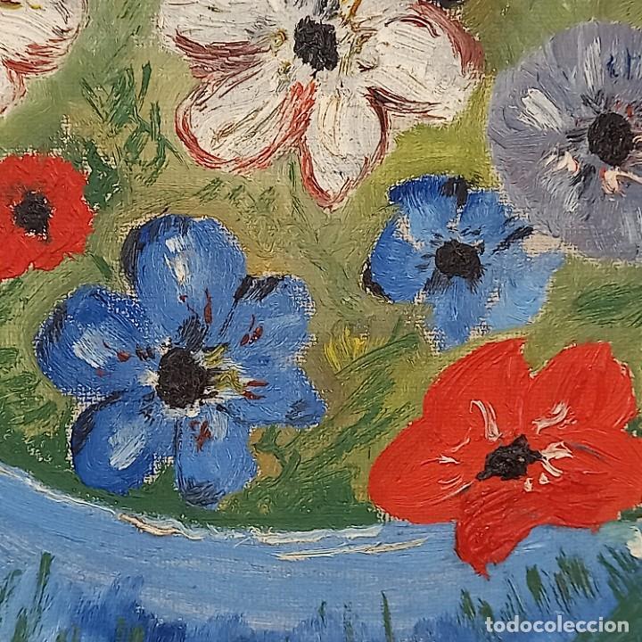Arte: Antigua pintura oleo flores y retrato femenino firmado - Foto 2 - 267129384