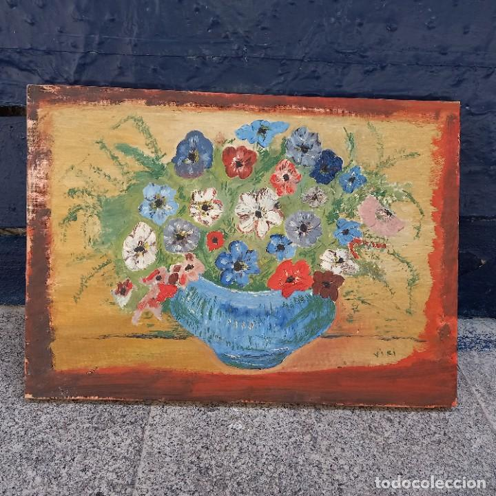 Arte: Antigua pintura oleo flores y retrato femenino firmado - Foto 3 - 267129384