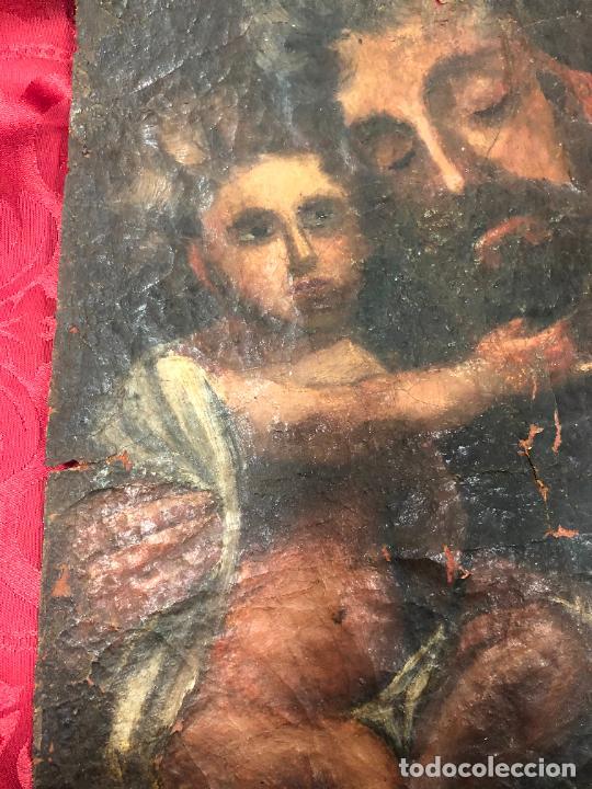 Arte: OLEO SOBRE LIENZO IMAGEN DE SAN JOSE SIGLO XVIII - MEDIDA 35X26 CM - RELIGIOSO - LE FALTA BASTIDOR - Foto 3 - 267336539