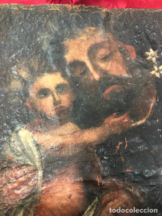 Arte: OLEO SOBRE LIENZO IMAGEN DE SAN JOSE SIGLO XVIII - MEDIDA 35X26 CM - RELIGIOSO - LE FALTA BASTIDOR - Foto 9 - 267336539