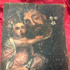 Arte: OLEO SOBRE LIENZO IMAGEN DE SAN JOSE SIGLO XVIII - MEDIDA 35X26 CM - RELIGIOSO - LE FALTA BASTIDOR. Lote 267336539