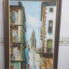 Arte: CUADRO DE ÓLEO SOBRE LIENZO DE J.CEBALLOS DE LA PARTE ALTA DE TARRAGONA. Lote 267608174
