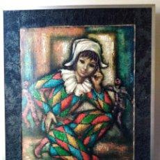 Arte: ÓLEO SOBRE TELA DE SACO, FIRMA ILEGIBLE. ARLEQUÍN CON BONITOS COLORES.. Lote 267611854