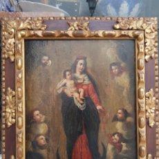 Arte: OLEO SOBRE TABLA VIRGEN DEL ROSARIO SIGLO XVIII / XIX. Lote 267714039