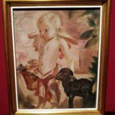 Arte: NIÑO Y CABRITILLA POR JOSEP OBIOLS (1894-1967). Lote 267729269