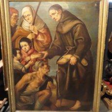 Arte: ÓLEO SOBRE LIENZO SAN DIEGO DE ALCALÁ REPARTIENDO PAN A LOS NECESITADOS ESCUELA ESPAÑOLA SIGLO XVII. Lote 267757049