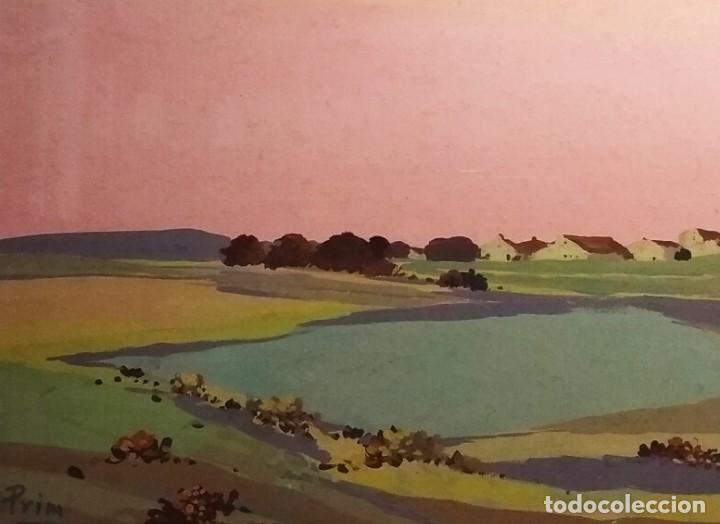 Arte: Paisaje de Grenier obra del pintor Josep Mª Prim (Barcelona 1907-73) - Foto 4 - 268033694