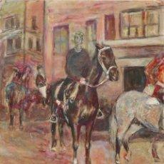Arte: VERA NILSSON (SUECIA 1888-1979). JINETES. ÓLEO SOBRE LIENZO. MIDE 46 X 38 CM.. Lote 268170349
