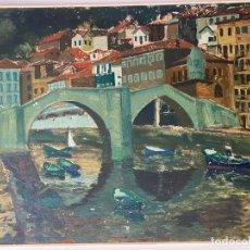 Arte: JOSÉ ALZUET AIBAR , ZARAGOZA , PAMPLONA , ACRILICO TABLEX . VISTA CON PUENTE , 1970. Lote 268263184