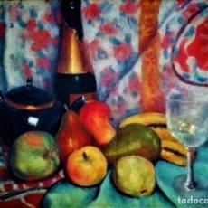 Arte: BODEGON CON CRISTAL Y FRUTOS L.L. EGUIA BILBAO 1903 - 1981. Lote 268440054