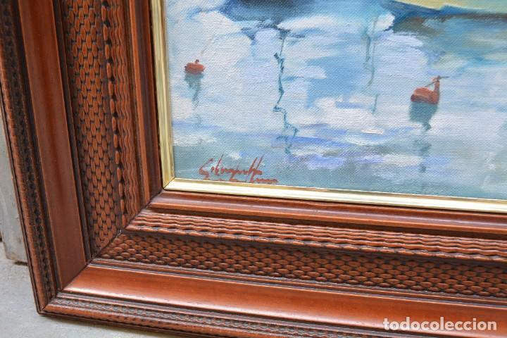 Arte: Puerto con barcas, pintura al óleo sobre tela, firma ilegible, con marco. 43x36cm - Foto 3 - 268603454