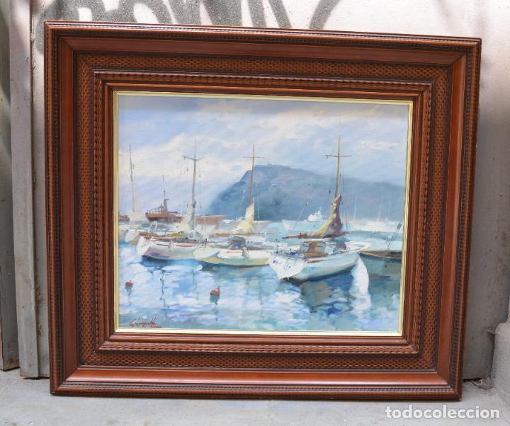 Arte: Puerto con barcas, pintura al óleo sobre tela, firma ilegible, con marco. 43x36cm - Foto 2 - 268603454