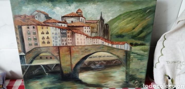 PRECIOSO PAISAJE A ÓLEO SOBRE LIENZO DE LA RÍA DE BILBAO (Arte - Pintura - Pintura al Óleo Contemporánea )