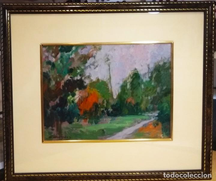 VISTA URBANA . CUADRO DEL GRAN PINTOR RAMON SANVISENS MARFULL (Arte - Pintura - Pintura al Óleo Contemporánea )