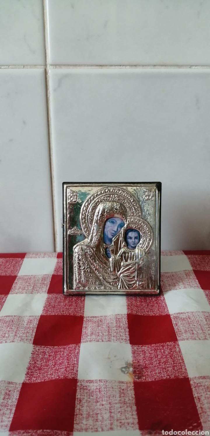 Arte: Pequeño icono ruso ortodoxo en plata chapada. - Foto 2 - 268620244