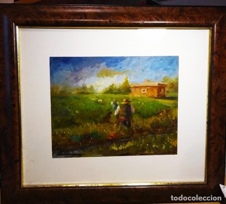TRABAJANDO LOS ARROZALES . OBRA DEL GRAN PINTOR RAMON SANVISENS (Arte - Pintura - Pintura al Óleo Contemporánea )
