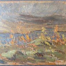 Arte: YNGVE AHLENIUS , 1915 - 1995 , SWEDISH ARTIST . OIL . OLEO CARTÓN PAISAJE. Lote 268968514