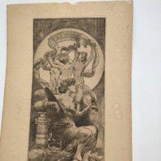 Arte: GRABADO DE ALEXANDRE DE RIQUER (1856-1920) DE 1903, EX LIBRIS PARA JOSEP FABREGAT.. Lote 269099718