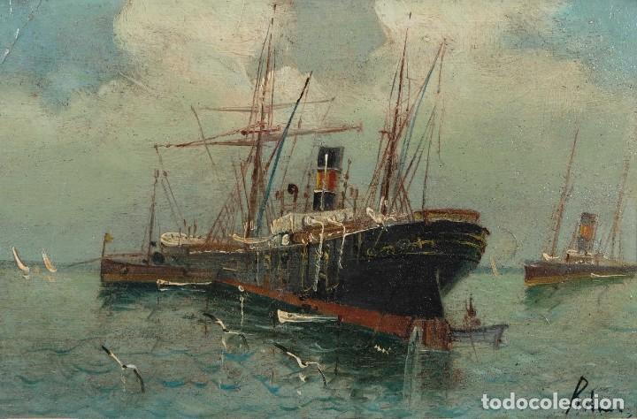 ÓLEO SOBRE CARTÓN BARCO EN EL MAR FIRMADO ILEGIBLE FINALES SIGLO XIX (Arte - Pintura - Pintura al Óleo Moderna siglo XIX)