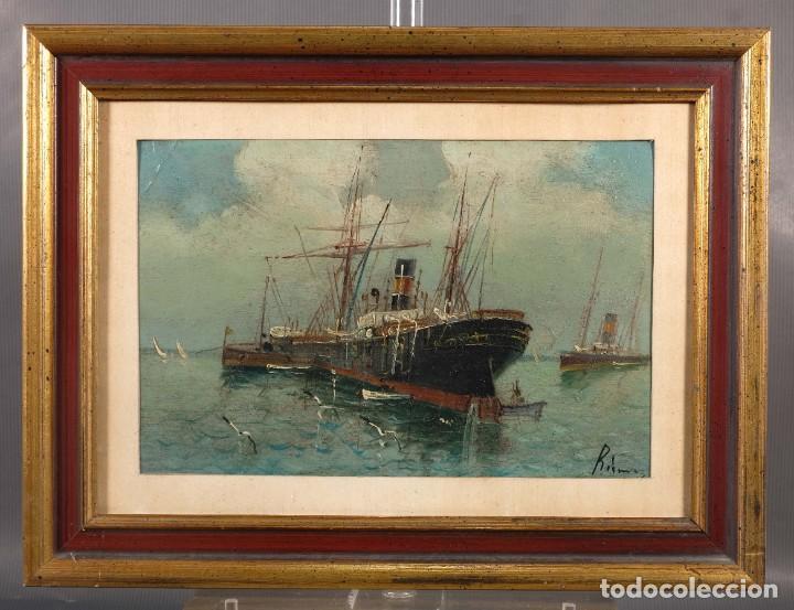 Arte: Óleo sobre cartón Barco en el mar firmado ilegible finales siglo XIX - Foto 2 - 269157498
