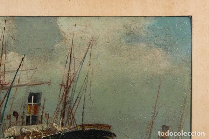 Arte: Óleo sobre cartón Barco en el mar firmado ilegible finales siglo XIX - Foto 3 - 269157498