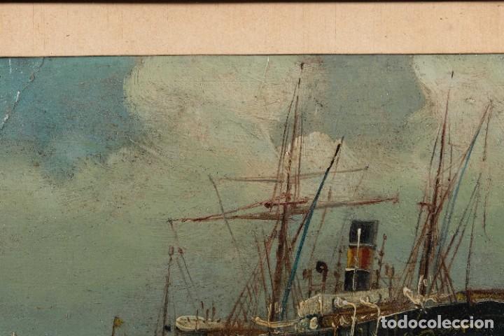 Arte: Óleo sobre cartón Barco en el mar firmado ilegible finales siglo XIX - Foto 4 - 269157498