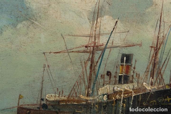 Arte: Óleo sobre cartón Barco en el mar firmado ilegible finales siglo XIX - Foto 5 - 269157498