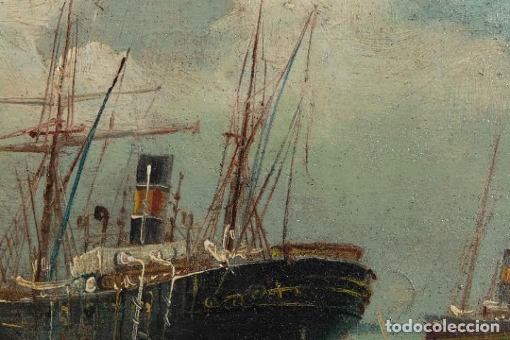 Arte: Óleo sobre cartón Barco en el mar firmado ilegible finales siglo XIX - Foto 6 - 269157498