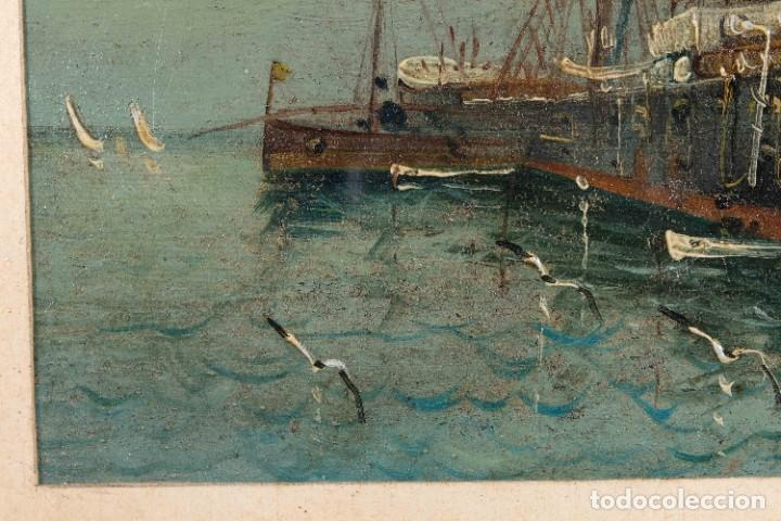 Arte: Óleo sobre cartón Barco en el mar firmado ilegible finales siglo XIX - Foto 7 - 269157498