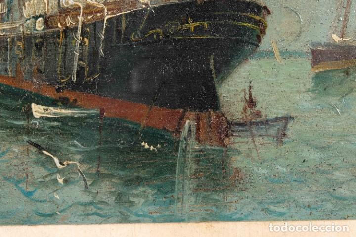Arte: Óleo sobre cartón Barco en el mar firmado ilegible finales siglo XIX - Foto 8 - 269157498