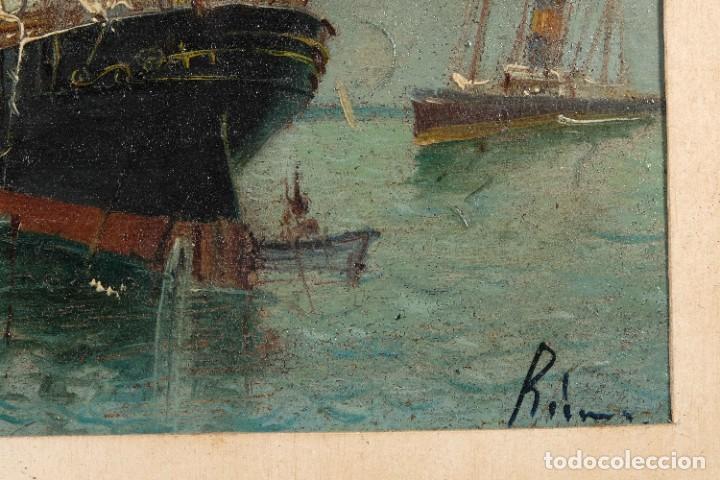 Arte: Óleo sobre cartón Barco en el mar firmado ilegible finales siglo XIX - Foto 9 - 269157498