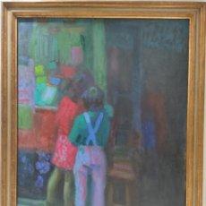 """Arte: """"NIÑOS"""" DE LA SEGUNDA MITAD DEL SIGLO XX. FIRMA ILEGIBLE. ÓLEO SOBRE LIENZO.130X130 CM MARCO.. Lote 269196943"""