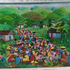 "Arte: ""MERCADO"" FIRMADO INATACE ALPHOYI, SE, DE LA SEGUNDA MITAD DEL SIGLO XX. ÓLEO SOBRE TELA.. Lote 269247278"