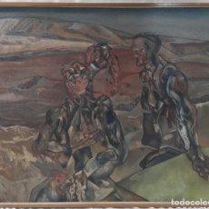 """Arte: """"SINE CASTILLA"""" DE JOSÉ MARÍA GUERRERO MEDINA (1942) DE 1982. ÓLEO SOBRE LIENZO.134X166,5 CM MARCO.. Lote 269247538"""