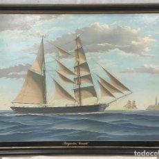 """Arte: """"BERGANTÍN ERNESTO"""" DE SALVADOR PIRRETAS CARRERAS (1903-1993). ÓLEO SOBRE LIENZO. 82X109,5 CM MARCO.. Lote 269251188"""
