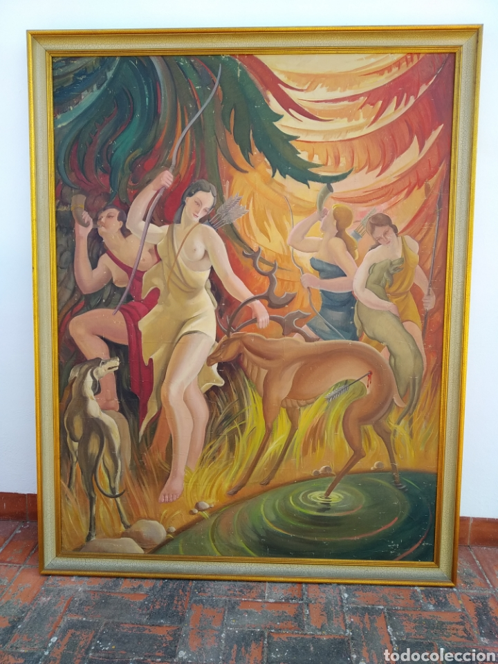 Arte: Gran Pintura oleo sobre lienzo ,periodo segunda República española ,1930atribuida manolita ballester - Foto 2 - 269300918