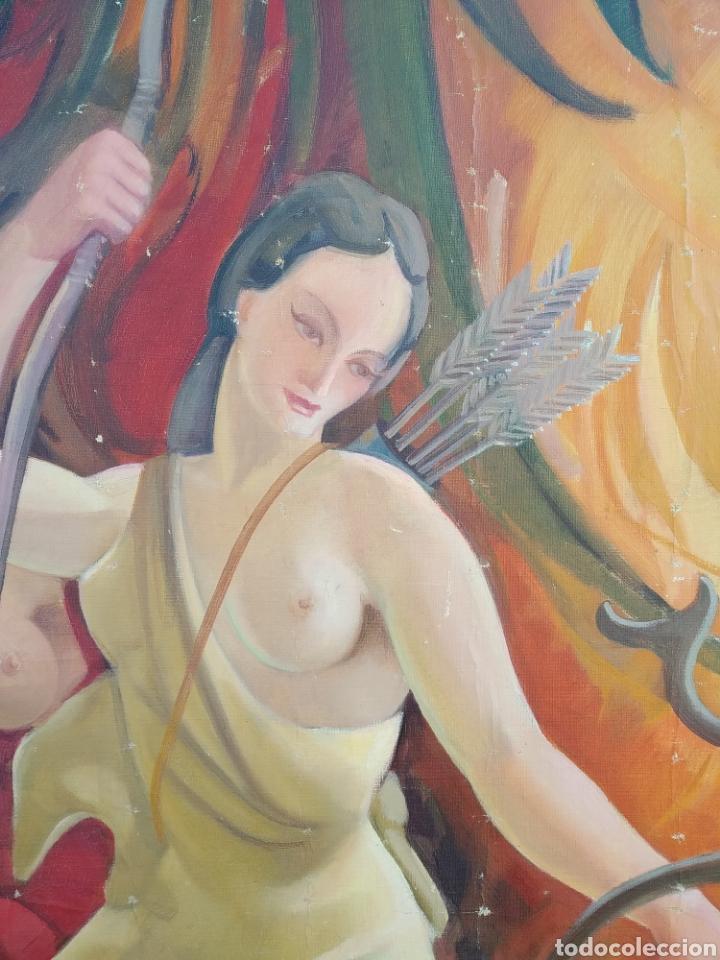 Arte: Gran Pintura oleo sobre lienzo ,periodo segunda República española ,1930atribuida manolita ballester - Foto 13 - 269300918