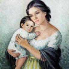 Arte: MERCEDES MALET TRAVY (BARCELONA, 1918 - 2014) OLEO SOBRE TELA. MATERNIDAD. Lote 269345933