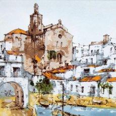 Arte: BERNARD DUFOUR (1922 - 2015) TECNICA MIXTA SOBRE CARTON ENTELADO. VISTA DE CADAQUES. Lote 269346383