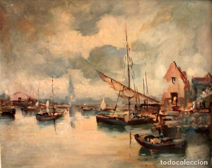 Arte: Escuela italiana primera mitad del s.XX. Marina al oleo sobre lienzo. Firmada y enmarcada. 67x58cm - Foto 2 - 269444383
