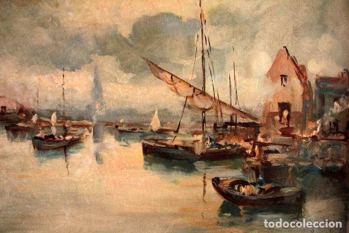 Arte: Escuela italiana primera mitad del s.XX. Marina al oleo sobre lienzo. Firmada y enmarcada. 67x58cm - Foto 3 - 269444383