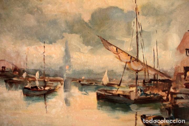 Arte: Escuela italiana primera mitad del s.XX. Marina al oleo sobre lienzo. Firmada y enmarcada. 67x58cm - Foto 4 - 269444383