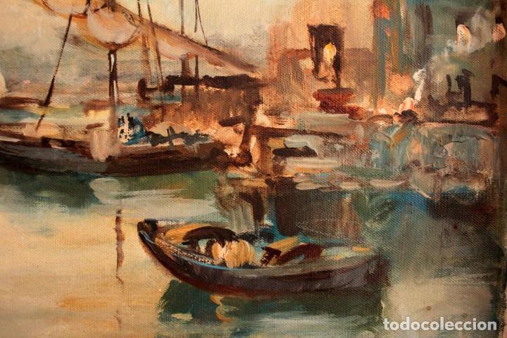 Arte: Escuela italiana primera mitad del s.XX. Marina al oleo sobre lienzo. Firmada y enmarcada. 67x58cm - Foto 5 - 269444383