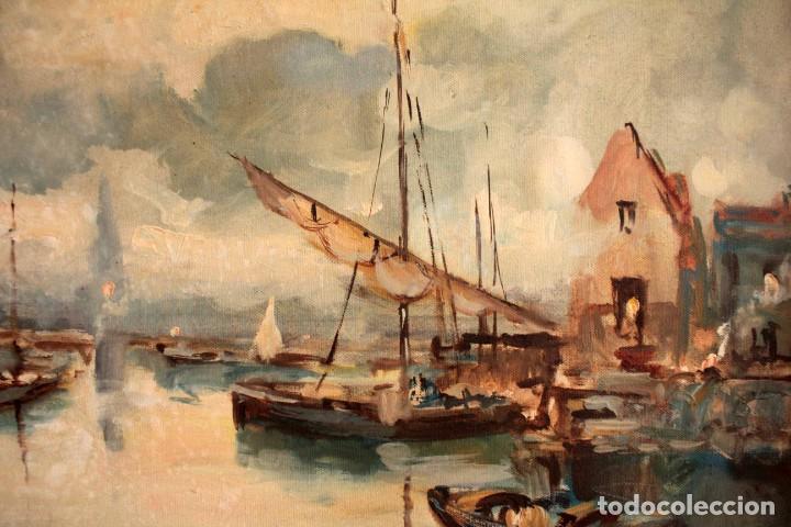 Arte: Escuela italiana primera mitad del s.XX. Marina al oleo sobre lienzo. Firmada y enmarcada. 67x58cm - Foto 6 - 269444383