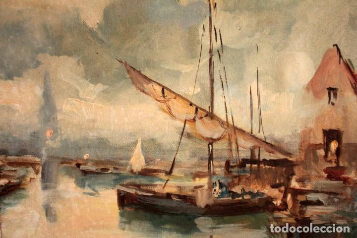 Arte: Escuela italiana primera mitad del s.XX. Marina al oleo sobre lienzo. Firmada y enmarcada. 67x58cm - Foto 8 - 269444383